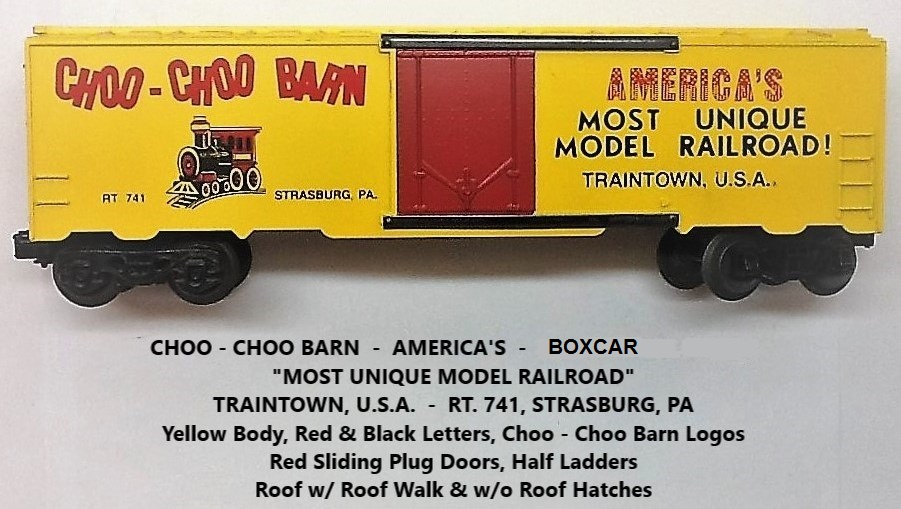 Kris Choo-Choo Barn yellow boxcar with steam locomotive logo and red plug doors
