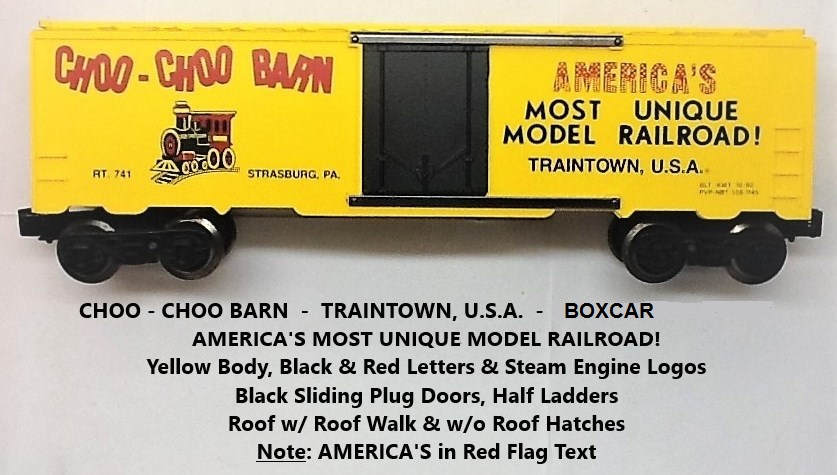 Kris Choo-Choo Barn yellow PVP-NBT boxcar with steam locomotive logo and black plug doors