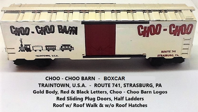 Kris Choo-Choo Barn shiny gold boxcar with red plug doors