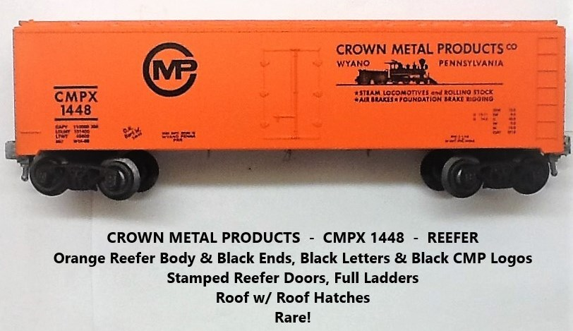 Kris Crown Metal Products 1448 orange and black refrigerator car