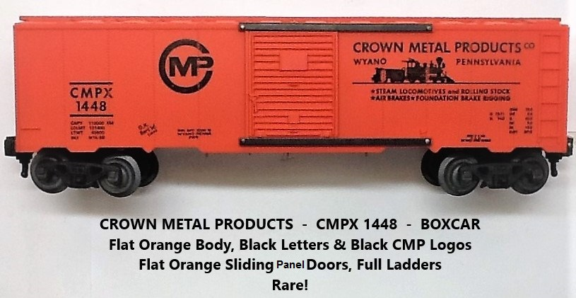 Kris Crown Metal Products 1448 flat orange boxcar with panel doors
