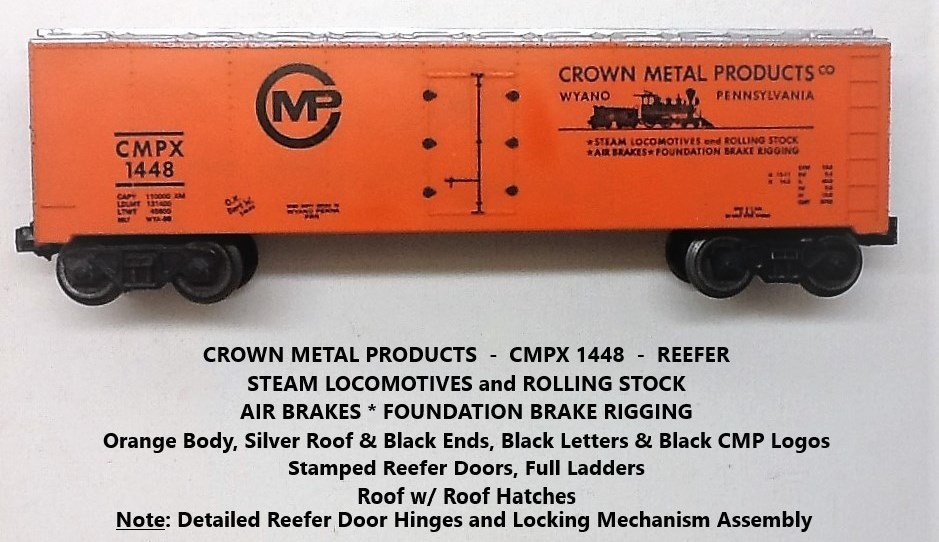 Kris Crown Metal Products 1448 orange, silver and black refrigerator car