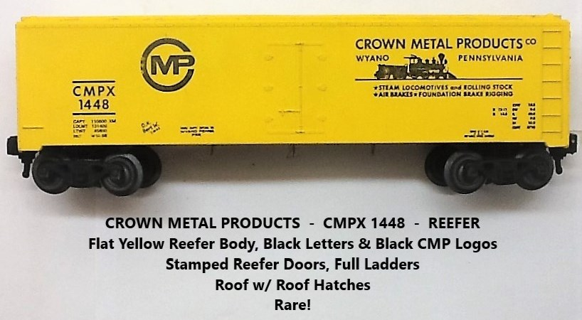 Kris Crown Metal Products 1448 yellow refrigerator car with black lettering