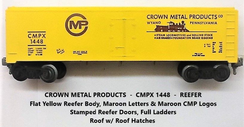 Kris Crown Metal Products 1448 yellow refrigerator car with maroon lettering