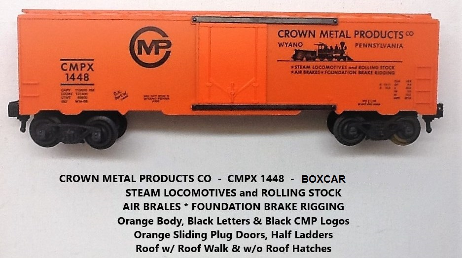 Kris Crown Metal Products 1448 orange boxcar with orange plug doors