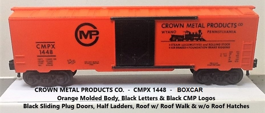 Kris Crown Metal Products 1448 orange boxcar with black plug doors