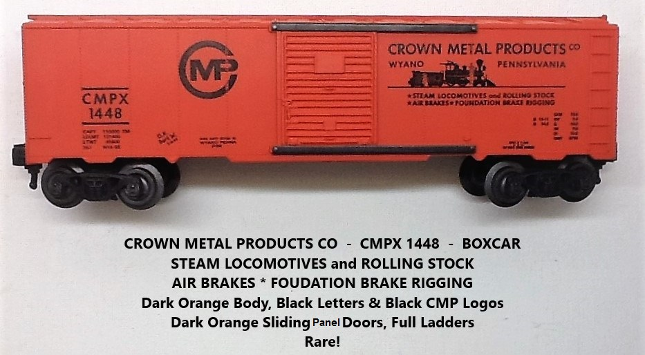 Kris Crown Metal Products 1448 dark orange boxcar with panel doors