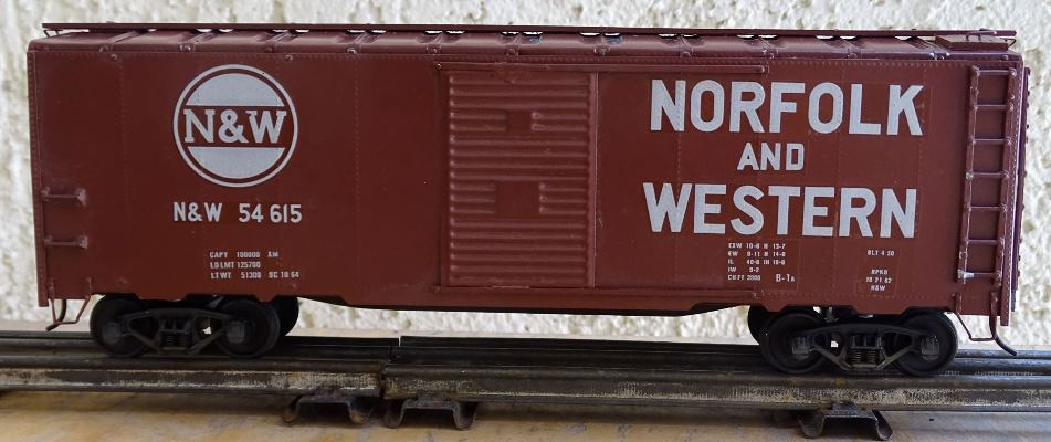 Norfolk and Western 54615 decals applied to a metal and wood kit boxcar