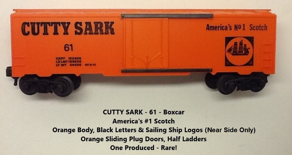 Kris Cutty Sark scotch orange boxcar