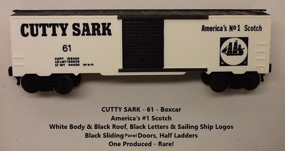 Kris Cutty Sark scotch white and black boxcar