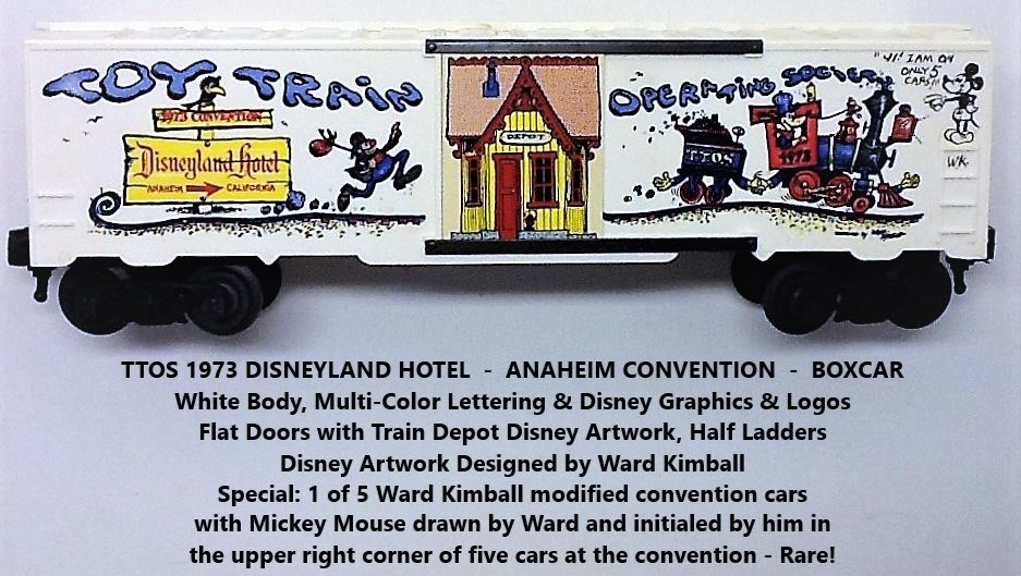 Kris TTOS 1973 Convention white boxcar with Mickey Mouse drawn and initialed by Ward Kimball