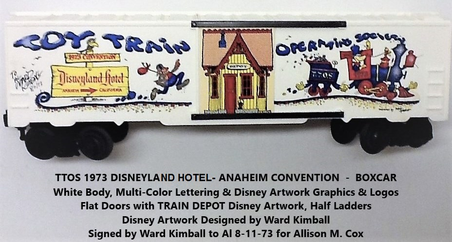 Kris TTOS 1973 Convention white boxcar signed by Ward Kimball for Allison Cox