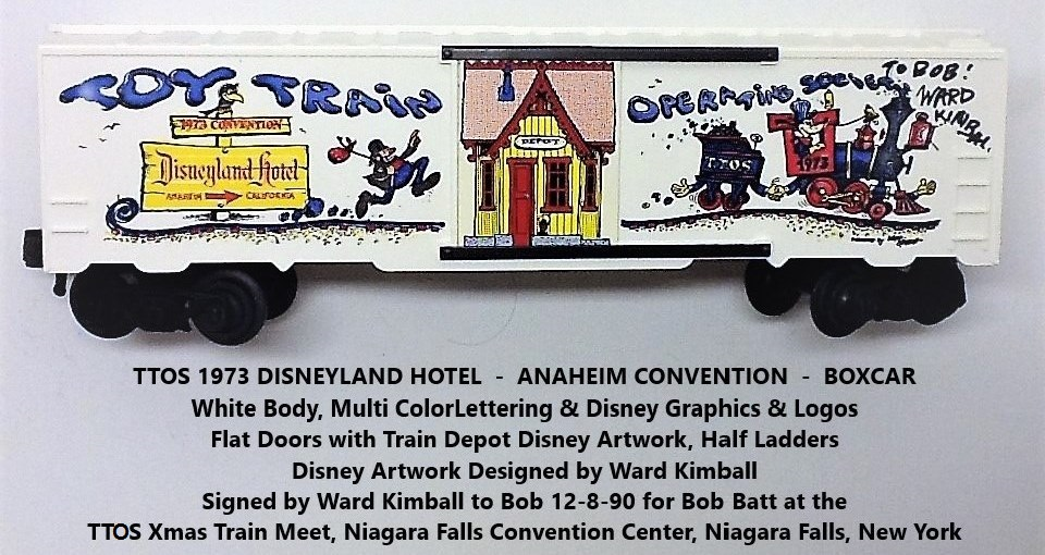 Kris TTOS 1973 Convention white boxcar signed by Ward Kimball for Bob Batt