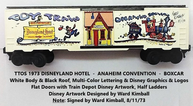 Kris TTOS 1973 Convention white and black boxcar with Ward Kimball autograph on right
