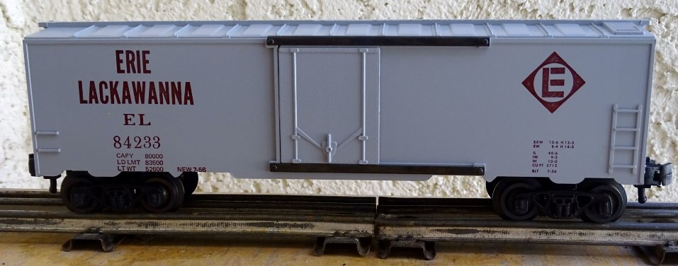 Kris Erie Lackawanna 84233 gray boxcar with large herald