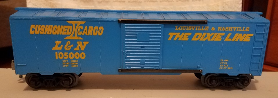 Kris Louisville and Nashville 105000 blue Cushioned Cargo boxcar with blue doors