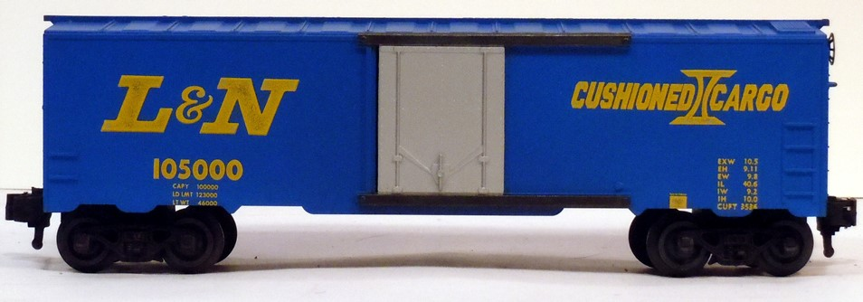 Kris Louisville and Nashville 105000 blue Cushioned Cargo boxcar with gray doors
