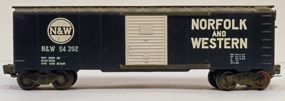 Kris Norfolk and Western 54392 dark blue boxcar with white panel doors