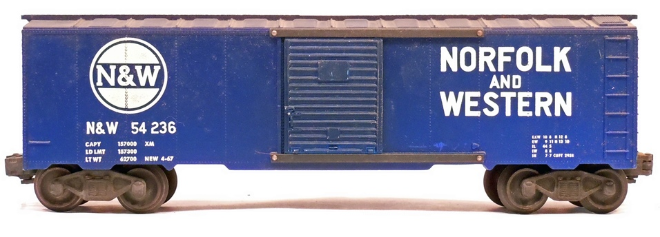 Kris Norfolk and Western 54236 blue boxcar with panel doors