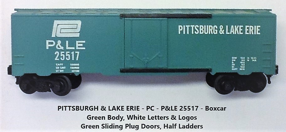 Kris Pittsburgh and Lake Erie 25517 green boxcar with plug doors and large PC logo